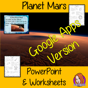 Distance Learning Planet Mars Google Slides Lesson  These resources teach children about the planet Mars in one complete lesson. There is a detailed 24 slide presentation on Mars, what makes it such a special planet, could there be live on Mars, looks at the weather on the planet Mars and discusses how humans have explored the planet. There are also differentiated, 6 page, Google Slides worksheets to allow students to demonstrate their understanding. This pack is great for teaching kids about the planet Mar