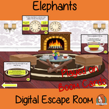 Elephants Escape Room Boom Cards Escape the room! Learn about and practice Elephants information with this fun digital escape room. Children will need to explore the room answering questions and solving puzzles and collecting information to escape.