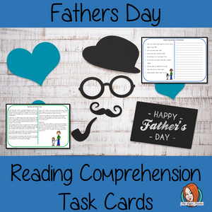 Fathers Day Reading Comprehension Cards Differentiated reading comprehension cards. Three levels of texts and questions to help children with reading comprehension. This text is on Fathers Day and has questions to help children understand and draw meaning from the text.