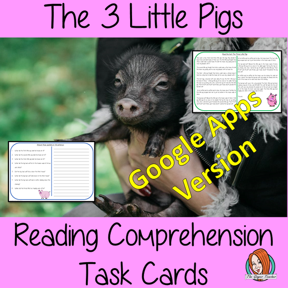 Distance learning The Three Little Pigs digital Reading Comprehension Cards Differentiated reading comprehension cards. Three levels of texts and questions to help children with reading comprehension. This text is on the story of The Three Little Pigs and has questions to help children understand and draw meaning from the text. Google classroom