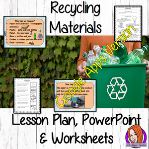 Distance Learning Recycling Materials Google Slides Lesson     This lesson includes a detailed presentation to explain how and why we Recycle Materials. There are also differentiated Google Slides worksheets to allow children to demonstrate understanding of the types of materials recycled and how the process happens.     This is the Google Slides version of this lesson!