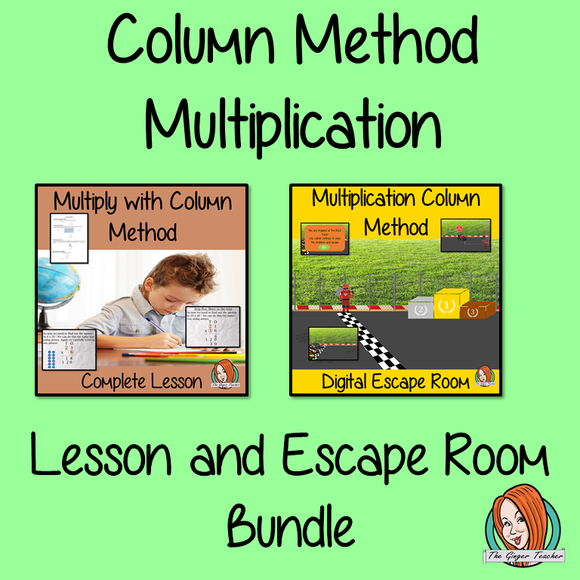 Column Method Multiplication Lesson and Escape Room Bundle