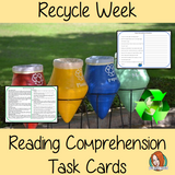 Recycle Week Reading Comprehension Cards  Differentiated reading comprehension cards. Three levels of texts and questions to help children with reading comprehension. This text is on Recycle Week and has questions to help children understand and draw meaning from the text.