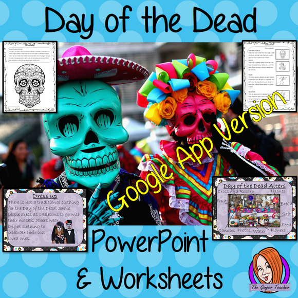 Distance Learning Day of the Dead - Dia de Los Muertos Google Slides Lesson  These resources teach children about the festival of Dia de los Muertos in one complete lesson.  Learn all about Day of the Dead History.  There is a detailed 45 slide presentation on the celebrations of The Day of the Dead festival, fun traditional facts, and details about how it is celebrated, information about the food that is made and eaten, Dia de Los Muertos traditions and a look at the different parts of an altar. There are