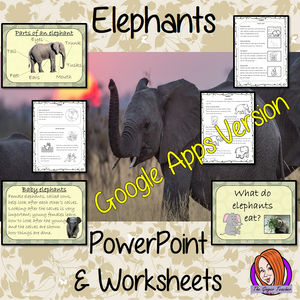 Distance Learning Elephants Google Slides Lesson  Learn all about Elephants  This lesson teaches children about Elephants. There is a detailed 50 slide Elephant presentation on: where Elephants are from, details about the how they spend their time, information about how they eat, a look at the different types of Elephants and a brief look at the parts of an Elephant. There are Elephant facts for kids and also differentiated, 7 page, Elephants, Google Slides, worksheets to allow children to demonstrate their