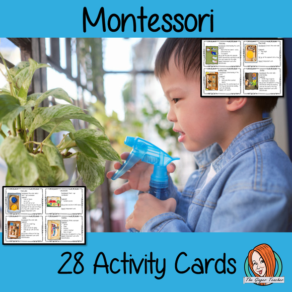 Montessori Activity cards 28 easy to follow and use Montessori activity cards.  Each card has an easy to set up activity that can be used in the classroom or at home. Every activity has a picture, description and equipment list as well as independent or supported work.