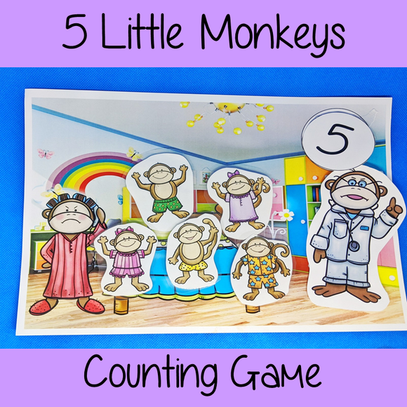 Five Little Monkeys Numbers Game Use this fun game to demonstrate the 5 little monkeys song. Use the scene and the monkeys to act out the song and practice counting. Preschool game. Great for teaching counting to prek