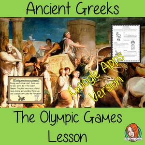Distance Learning Ancient Greek Olympics Complete History Lesson Teach children about Ancient Greek Olympic Games. resources lesson to teach children about the types of games how they started and the winners and losers of the Olympics. 34 slide PowerPoint and 4 versions of the 8-page worksheet to show their understanding, along with an activity to write instructions for winning The Olympics. #lessonplanning #ancientGreeks #Greeks #teaching #historylessons #historyplanning #googleclassroom
