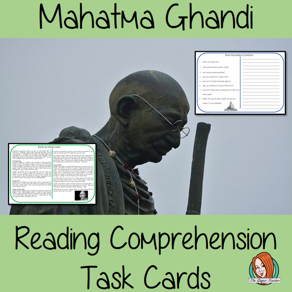 Mahatma Ghandi Reading Comprehension Cards  Differentiated reading comprehension cards. Three levels of texts and questions to help children with reading comprehension. This text is on Mahatma Ghandi and has questions to help children understand and draw meaning from the text.