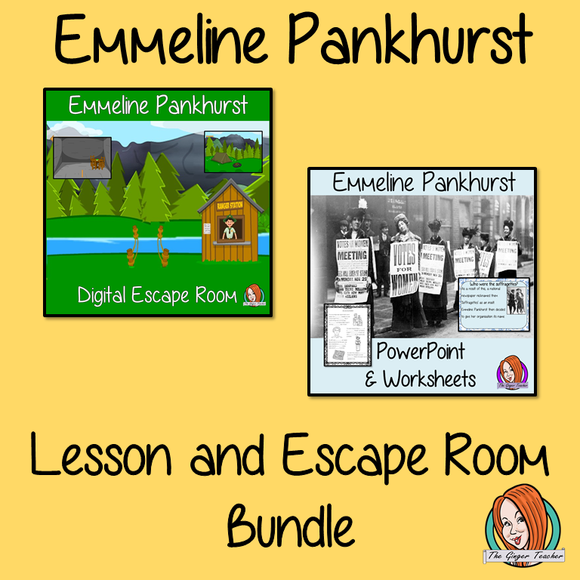 Emmeline Pankhurst Lesson and Escape Room Bundle