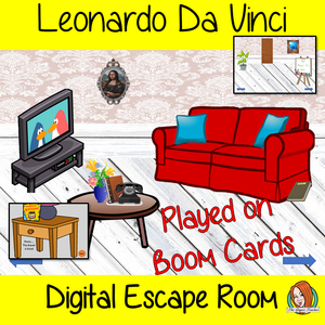 Leonardo Da Vinci Digital Escape Room Teach children about Leonardo Da Vinci with this fun digital escape room. Children will need to look around the room and learn facts about Da Vinci to solve the puzzles and eventually escape the room. No printing required This game uses Boom Cards and you will need a Boom card account to play it which is free