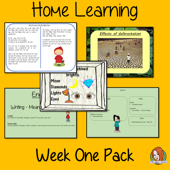 Home learning Pack Third Grade Distance learning pack for 3rd Grade (Year 4) Complete week of learning for children covering 5 days of English, Mathematics , Science, History and Topic work.  All resources needed with clear instructions. No printing or prep needed.