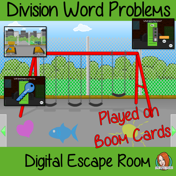 Division Word Problems Escape Room Boom Cards