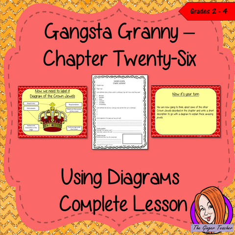 Complete Lesson on Using and Labelling Diagrams in texts - Gangsta Granny by David Walliams Complete lesson on the 26th chapter of Gangsta Granny by David Walliams. Children will read and discuss the chapter. There is a PowerPoint to explain diagrams and the activity. Children can then plan and write their own short piece of writing. Then children will create a detailed diagram. There is also a short chapter summary sheet #lessonplans #bookstudy #teachingideas #readingactivities