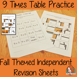 Fall Themed Independent Multiplication Revision Sheets 9x No Prep independent revision activity for the nine times tables. Children have to cut out and stick the correct answer to the question square, when the correct squares are all in place a fall themed picture will be revealed. #teachmultiplication #revisemultiplication #ninetimestables #noprep #mathsworksheets