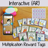 Interactive multiplication Reward Tags brag tags! These tags can be used in your classroom for behaviour management. If you want to promote good behavior of students brag tags! This is a whole class behaviour management system promotes good behaviour in class download the free AR (augmented reality) app and a fun character will appear in your classroom! Each tag has AR reward that collect also option to take reward selfie. #augmentedreality #bragtags #rewardtag #awardtags