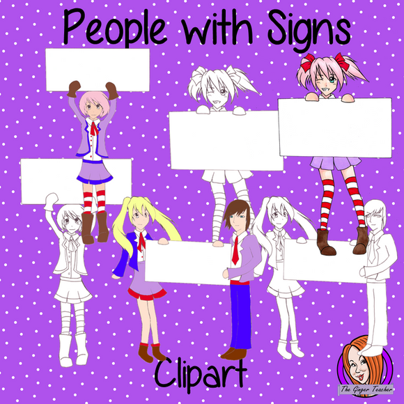 Unique people holding signs clipart
