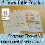 Christmas Themed Independent Multiplication Revision Sheets 3x No Prep independent revision activity for the three times tables. Children have to cut out and stick the correct answer to the question square, when the correct squares are all in place a christmas themed picture will be revealed. #teachmultiplication #revisemultiplication #threetimestables #noprep #mathsworksheets