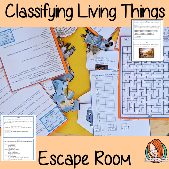 Classifying Living Things Escape Room Game This is a fun game that is perfect for teaching children about classification of living things. This game focuses on students finding out facts and information and using these to solve puzzles. This helps them to learn about the different groups living things can be placed in and why this is so important, they must solve a series of clues #livingthings #classifying #sciencelessons #escaperoom