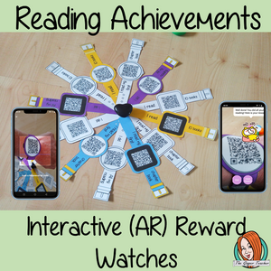 Interactive Reading Achievements Reward watches (Brag Tags) download the free Metaverse AR app Scan the code and a fun character will appear to congratulate the kids! Each tag has AR reward that the children collect also the option to take a reward selfie these reward watches can be printed and used in your classroom to reward reading achievements. They are great to give out to the children to create a fun classroom environment. #bragtags #rewardtag #awardtags #backtoschool
