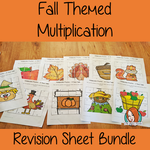 Fall Themed Independent Multiplication Revision Bundle No Prep independent revision activities for the two up to twelve times tables. Children have to cut out and stick the correct answer to the question square, when the correct squares are all in place a fall themed picture will be revealed. #teachmultiplication #revisemultiplication #twelvetimestables #noprep #mathsworksheets