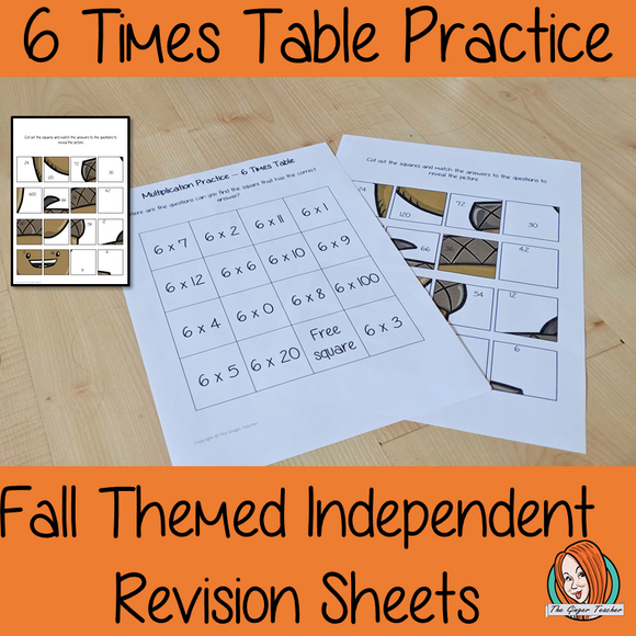 Fall Themed Independent Multiplication Revision Sheets 6x No Prep independent revision activity for the six times tables. Children have to cut out and stick the correct answer to the question square, when the correct squares are all in place a fall themed picture will be revealed. #teachmultiplication #revisemultiplication #fourtimestables #noprep #mathsworksheets