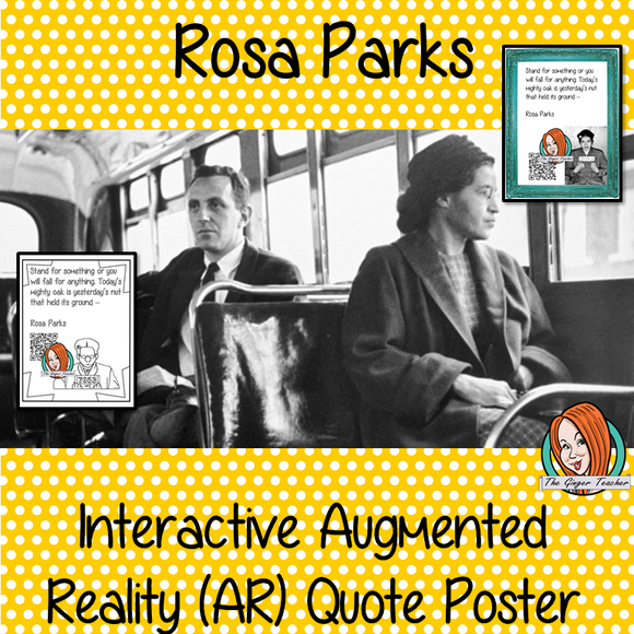 Rosa Parks Interactive Quote Poster Augmented Reality (AR) interactive quote poster This poster can be printed and used in your classroom access the augmented reality aspects of this poster download the free Metaverse AR (augmented reality) app. Rosa Parks will appear in your classroom to give your kids extra facts and a short quiz. Included are two posters one color and one black and white with AR codes for interactive content #blackhistorymonth #blackhistory #rosaparks