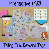 Interactive telling time Reward Tags (brag tags) Give you class something to brag about! These reward tags can be printed and used in your classroom to reward your student when they learn to tell the time. download the free Metaverse AR (augmented reality) app Scan the code and a fun character will appear in your classroom to congratulate the kids!. #augmentedreality #bragtags #rewardtag #awardtags #backtoschool