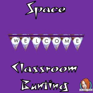 Outer Space Themed Classroom Bunting  This download includes fun space themed classroom bunting. These are great for teachers and kids to have an outer space themed classroom. #classroomthemes #teachingideas #spaceclassroom #outerspaceclassroom