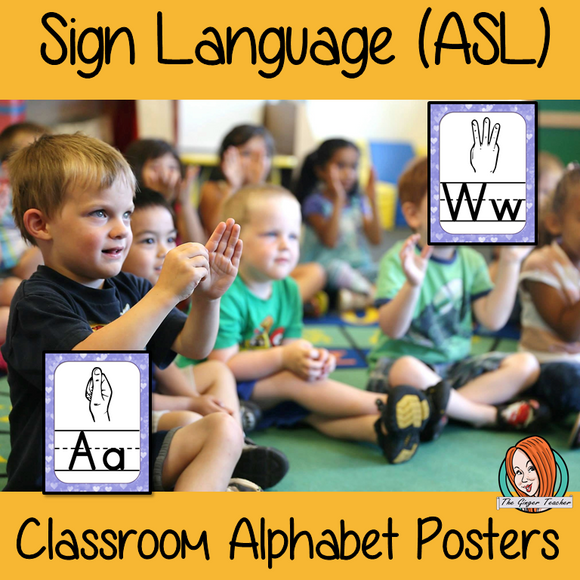 Sign Language ASL Classroom Posters 24 Posters with letters of the alphabet and the corresponding sign in American Sign Language These are great for decorating your classroom or for using as flash cards to teach children the signs for the letters. #asl #signlanguage #classroom