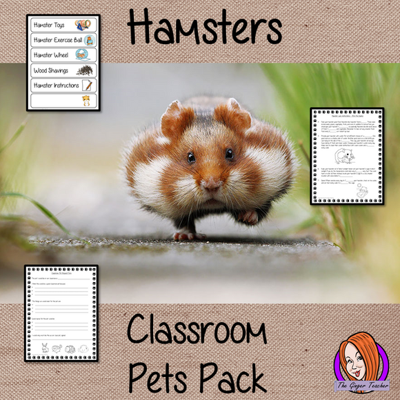 Hamsters Classroom Pets Pack a fun pack for your classroom hamster. 11 sheets included to allow children to request a pet, monitor it with an observation journal, draw pictures of the class pet, set up feeding rotas, label the pet's equipment, create rules for the pet, read instructions for hamster care and complete cloze sheets of the instructions. A great way to teach about caring for living things. #teaching #classpets #pshe #pets #hamsters #caring #lessons #animals