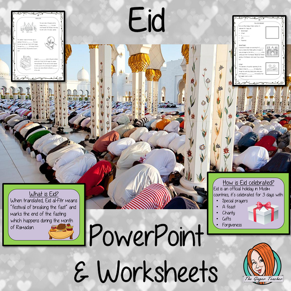Eid PowerPoint and Worksheets This download teaches children about Eid in one complete lesson. There is a detailed 21 slide PowerPoint on the festival of Eid, fun Eid facts, details about how the date of Eid is decided and how it is celebrated. There are also differentiated, 5 page, worksheets to allow students to demonstrate their understanding. This pack is great for teaching kids all about this religious festival in your classroom. #teaching #eid #reteaching