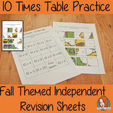 Fall Themed Independent Multiplication Revision Sheets 10x No Prep independent revision activity for the ten times tables. Children have to cut out and stick the correct answer to the question square, when the correct squares are all in place a fall themed picture will be revealed. #teachmultiplication #revisemultiplication #tentimestables #noprep #mathsworksheets