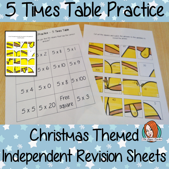 Christmas Themed Independent Multiplication Revision Sheets 5x No Prep independent revision activity for the five times tables. Children have to cut out and stick the correct answer to the question square, when the correct squares are all in place a christmas themed picture will be revealed. #teachmultiplication #revisemultiplication #fivetimestables #noprep #mathsworksheets