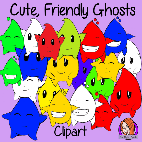 Unique New Cute Coloured Ghosts Clipart