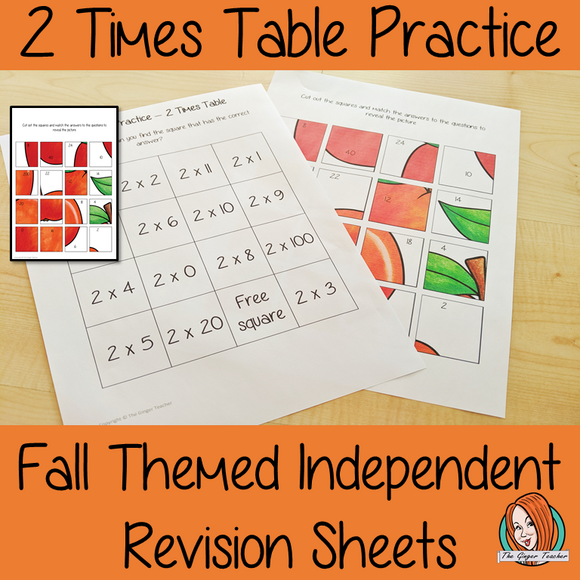 Fall Themed Independent Multiplication Revision Sheets 2x No Prep independent revision activity for the two times tables. Children have to cut out and stick the correct answer to the question square, when the correct squares are all in place a fall themed picture will be revealed. #teachmultiplication #revisemultiplication #fourtimestables #noprep #mathsworksheets