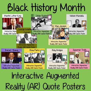 Black History Month  Interactive Quote Posters Augmented Reality (AR) interactive quote posters These posters can be printed and used in your classroom access the augmented reality aspects of posters download the free Metaverse AR (augmented reality) app. Characters will appear in your classroom to give your kids extra facts and an opportunity to hear speechs #blackhistorymonth #blackhistory