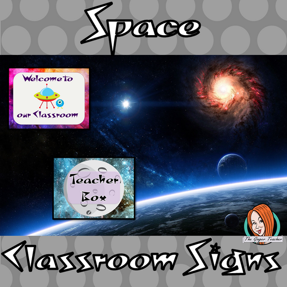 Outer Space Themed Classroom Signs  This download includes fun space themed classroom signs. These are great for teachers and kids to have an outer space room.  This download includes: - Book hospital sign - Teacher box sign  - Welcome to our class sign - Editable welcome sign - 16 subject box labels #classroomthemes #teachingideas #outerspaceclassroom
