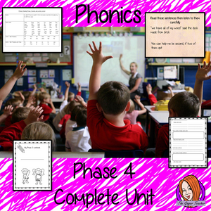 Phonics  Phase 4 Complete Unit of Lessons this download includes three weeks of phonics lessons for phase 4. Fifteen full lessons each with PowerPoints, lesson structure and workbook pages. Tricky sight words and high frequency words are practiced alongside the sounds and sound words. Audio is included in the PowerPoints to allow children to practice writing. Each lesson has silly sentences to make the learning fun. #teaching #phonics #reading #phase3 #jollyphonics #phonicslessons #lessons