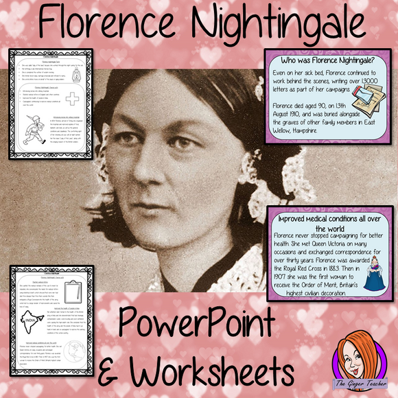 Florence Nightingale PowerPoint and Worksheets Fun history lesson to teach children Bring the lady with the lamp into your classroom, make teaching about nursing and nurse history fun and engaging facts and activities for kids to enjoy includes detailed 23 slide PowerPoint It covers important parts of her life; who she was; interesting facts; summary of her famous acts and quotes. #lessonplanning #teaching #resources #historylessons #historyplanning #florencenightingale