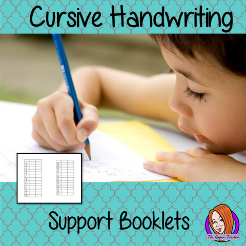Cursive handwriting support booklets
