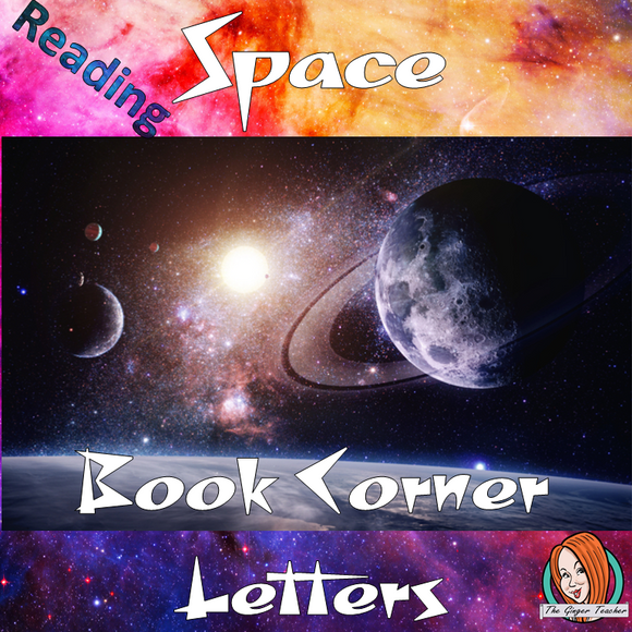 Space Themed Class Book Corner Letters Freebie This download includes fun outer spaced themed book corner lettering for your reading corner display for your classroom. These are great for teachers and kids to have an outer space themed classroom. #classroomthemes #teachingideas #outerspaceclassroom #outerspace