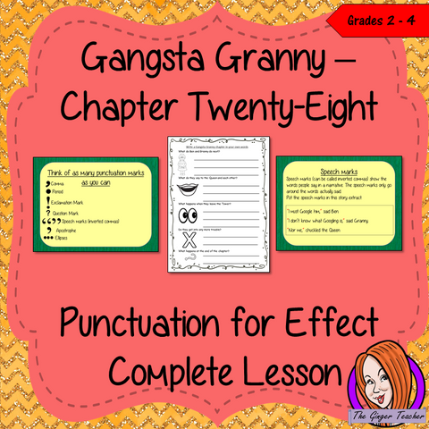 Complete narrative writing lesson on the twenty-eighth chapter of the book Gangsta Granny by David Walliams. Children read and discuss the chapter. There are activities to explain punctuation with an anchor chart and detailed PowerPoint to ensure the elements of punctuation are broken down. Children can then plan and write their own narratives independently.#lessonplans #bookstudy #teachingideas #readingactivities