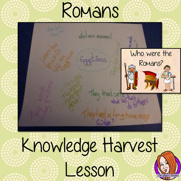 The Romans - Knowledge Harvest Lesson  This download is a complete lesson on introducing the Romans with a knowledge harvest.  It is the perfect lesson to start a topic on the Romans. Included: Full lesson plan, Example knowledge harvest, Big Question #lessonplanning #romans #teachingresources #teaching #resources #historylessons #historyplanning