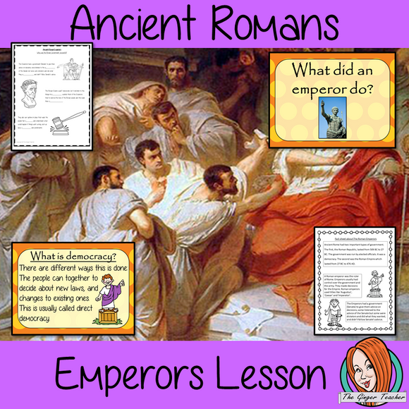 Ancient Romans Emperors and Government Complete History Lesson Teach children about Ancient Romans and their emperors. Complete lesson to teach children about the Roman government and emperors.  The children will learn how Rome changed from a republic to empire, what a democracy is, what an emperor did and why the Roman Empire was successful. PowerPoint 6-page worksheet to show their understanding #lessonplanning #ancientromans #romans #teaching #resources #historylessons #historyplanning