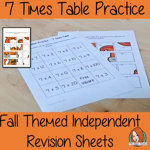 Fall Themed Independent Multiplication Revision Sheets 5x No Prep independent revision activity for the five times tables. Children have to cut out and stick the correct answer to the question square, when the correct squares are all in place a fall themed picture will be revealed. #teachmultiplication #revisemultiplication #fourtimestables #noprep #mathsworksheets