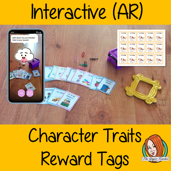 Interactive Classroom Character Traits Reward Tags (brag tags) Give you class something to brag about! These reward tags can be printed and used in your classroom download the free Metaverse AR (augmented reality) app Scan the code and a fun character will appear in your classroom to congratulate the kids! Each tag has AR reward that the children collect also the option to take a reward selfie. #ar #augmentedreality #bragtags #rewardtag #awardtags