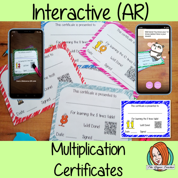 Interactive Classroom Multiplication certificates fun way to reward multiplication learning These certificates can be printed and used in your classroom download the free Metaverse AR (augmented reality) app Scan the code and a fun character will appear in your classroom to congratulate the kids! Each certificate has AR reward that the children collect also the option to take a reward selfie. #ar #augmentedreality #bragtags #rewardtag #awardtags