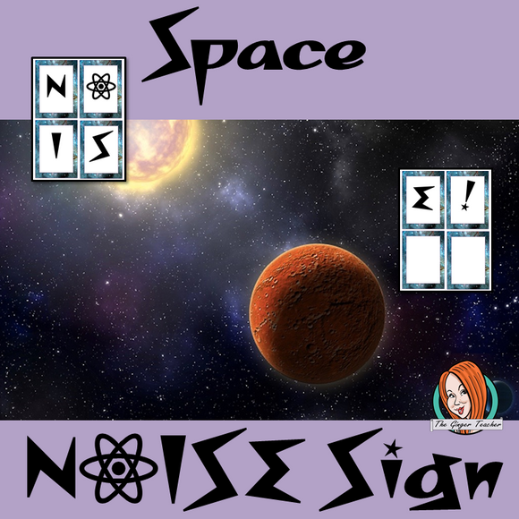 Outer Space Themed Noise letters This download includes fun space themed noise letters. I use these to remind children to keep the classroom noise down. If they are making too much noise they lose a letter.   These are great to complete your outer space themed classroom. #classroomthemes #teachingideas #spaceclassroom