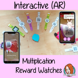 Interactive Multiplication Reward watches (Brag Tags) download the free Metaverse AR app Scan the code and a fun character will appear to congratulate the kids! Each tag has AR reward that the children collect also the option to take a reward selfie these reward watches can be printed and used in your classroom to encourage good character traits. They are great to give out to the children to create a fun classroom environment. #bragtags #rewardtag #awardtags #backtoschool
